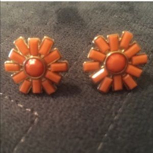 Jcrew Apricot Orange Flower Stud Earrings